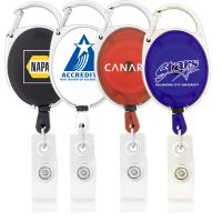 Retractable Badge Holder with Carabiner Clip. H-K306