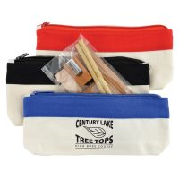 Bamboo Stationery Set in Cotton / Canvas Organiser / Pencil Case. LL21343