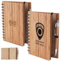 Bamboo Cover Notebook with Pen. LL9757